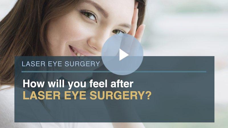 Woman smiling at camera, happy after laser eye surgery